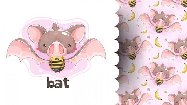 Śliczny nietoperz jest ubranym pszczoły odziewa z deseniowym tłem