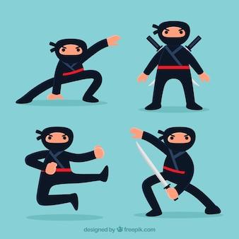 Śliczny ninja charakter w różnych pozach z płaskim projektem