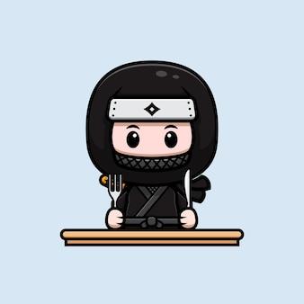 Śliczny ninja gotowy do jedzenia maskotka ikona ilustracja