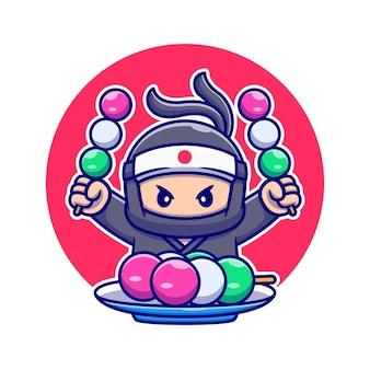 Śliczny ninja jedzący dango kreskówka. ludzie ikona koncepcja jedzenie na białym tle. płaski styl kreskówki