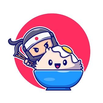 Śliczny ninja jedzący miskę ryżu tamago z kreskówkową pałeczką. ludzie ikona koncepcja jedzenie na białym tle. płaski styl kreskówki