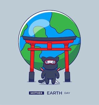 Śliczny Ninja Kot Torii Brama I Powitanie Dnia Matki Ziemi Premium Wektorów