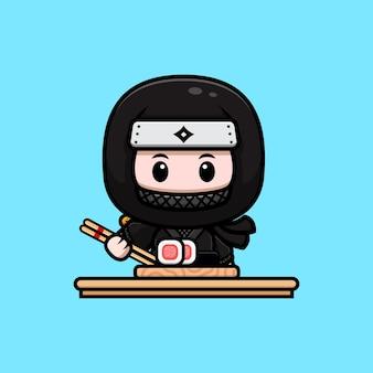 Śliczny ninja z ilustracją ikony maskotki sushi