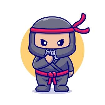 Śliczny ninja z shuriken cartoon. płaski styl kreskówki