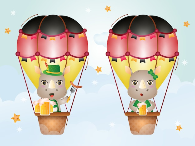 Śliczny nosorożec na balonie w tradycyjnej sukience z oktoberfest