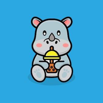 Śliczny nosorożec pić boba bańka kubek herbaty kreskówka