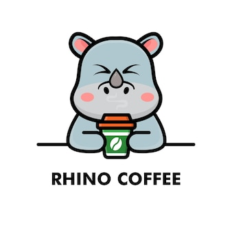 Śliczny nosorożec pić filiżankę kawy kreskówka zwierzę logo ilustracja kawy