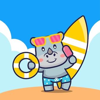 Śliczny nosorożec trzymając lody pierścień do pływania i ilustracja kreskówka deska surfingowa