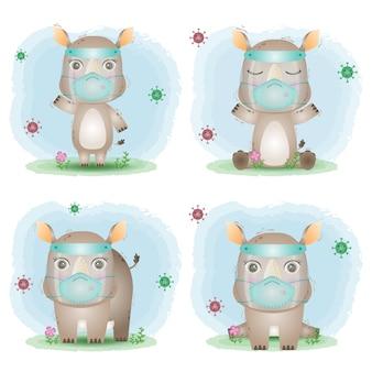 Śliczny nosorożec używający osłony twarzy i kolekcji masek