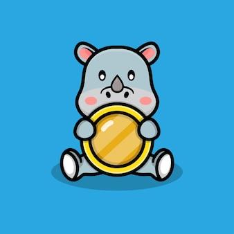 Śliczny nosorożec z ilustracją monet