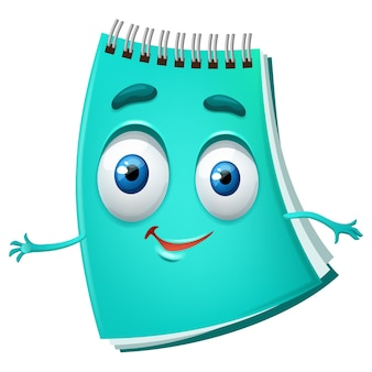 Śliczny notatnik kreskówka zabawny turkusowy pamiętnik