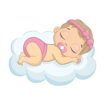 Śliczny nowonarodzony dziewczyny dosypianie na chmurze. ilustracja na chrzciny, kartkę z życzeniami, zaproszenie na imprezę, nadruk koszulki z modnymi ubraniami.
