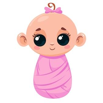 Śliczny noworodek w różowym kocu ilustracja wektorowa w stylu kreskówki dla dzieci izolowana zabawa