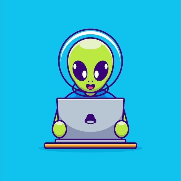 Śliczny obcy pracujący nad kreskówką na laptopie