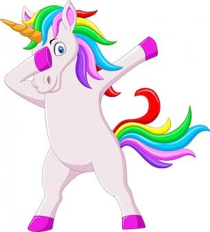 Śliczny ociekający koń jednorożec kreskówki taniec