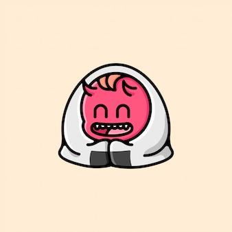 Śliczny onigiri z kremowym twarzem twarzy
