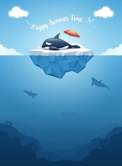 Śliczny orca wieloryb dosypianie na górze lodowa