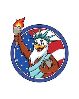 Śliczny orzeł kreskówka w stroju wolności. ilustracja z amerykańską flagą