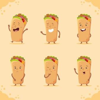 Śliczny pakiet postaci shawarma