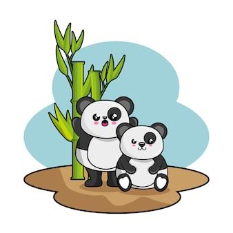 Śliczny panda charakter kawaii styl