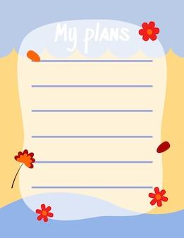 Śliczny papier do notatek napisz notatkę i napisz plan przypomnienia projekt wektorowy odpowiedni do wielu celów
