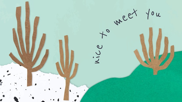 Śliczny papierowy szablon kolażu wektor na baner bloga