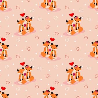 Śliczny para lis w miłość bezszwowym wzorze.