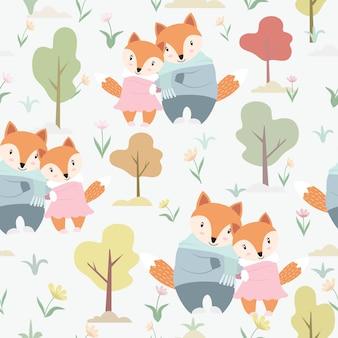 Śliczny para lis w ogrodowym bezszwowym wzorze.