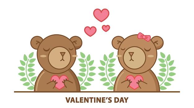 Śliczny para niedźwiedź trzyma serce odizolowywający na białym tle.