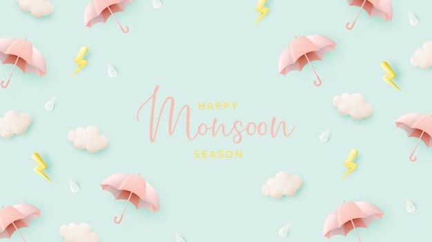 Śliczny parasol na sezon monsunowy w pastelowej kolorystyce i ilustracji wektorowych w stylu sztuki papieru