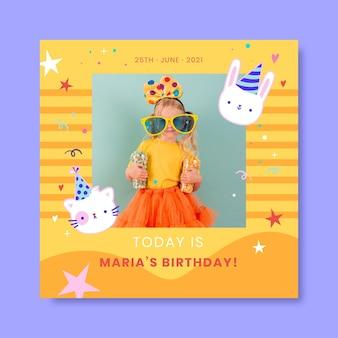Śliczny pastelowy post urodzinowy dla dzieci na instagramie