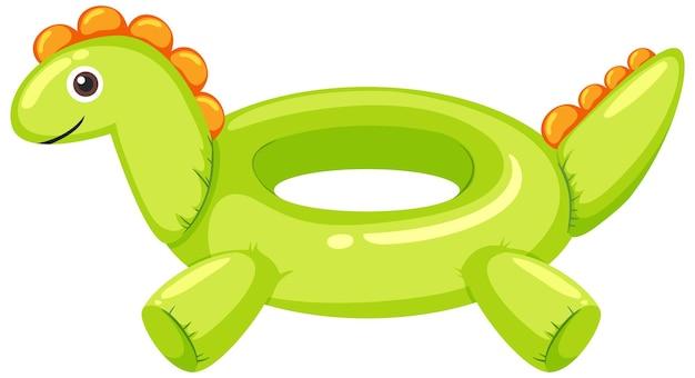 Śliczny pierścień do pływania dinozaurów na białym tle