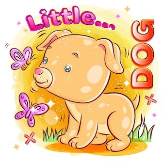 Śliczny pies bawić się z motylem na ogródzie. kolorowa kreskówki ilustracja.