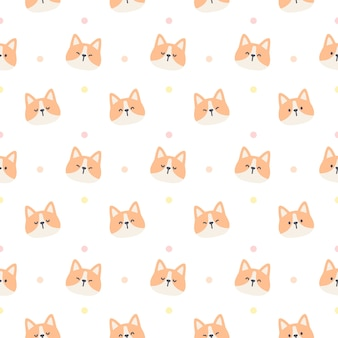 Śliczny pies corgi bez szwu powtarzalny wzór, tapeta, ładny wzór tła
