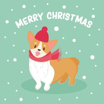 Śliczny pies corgi z czapką świętego mikołaja i szalikiem śmieszne zwierzę świąteczny plakat świąteczny