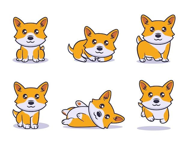 Śliczny pies corgi zestaw ilustracji postaci