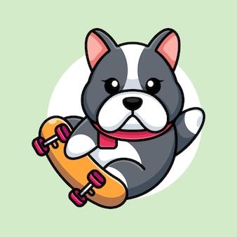 Śliczny pies grać na deskorolce kreskówka