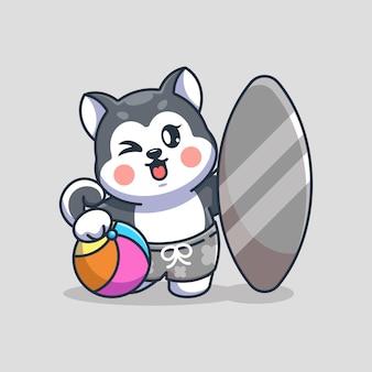 Śliczny pies husky lato ikona ilustracja