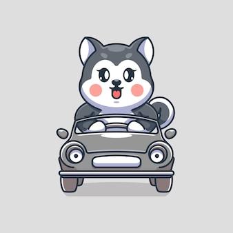 Śliczny pies husky prowadzący kreskówkę samochodu car