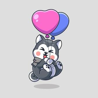 Śliczny pies husky unoszący się z balonową kreskówką