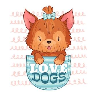 Śliczny pies kieszonkowy. kocha psy, małego szczeniaka i kreskówki zwierzęcia domowego ilustrację