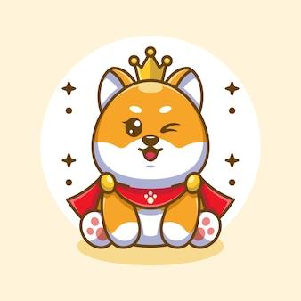 Śliczny pies króla shiba inu zabawny