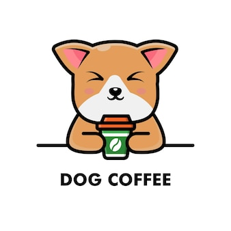 Śliczny pies pić filiżankę kawy kreskówka zwierzę logo ilustracja kawa