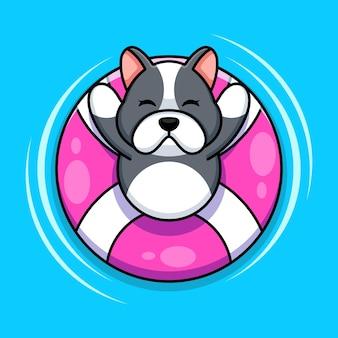 Śliczny pies pływający z kreskówką pływackiego pierścienia