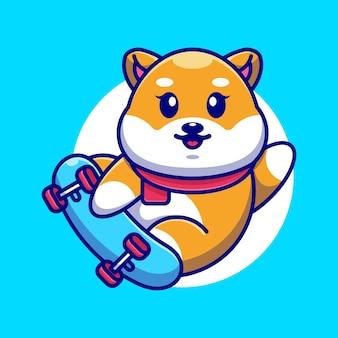 Śliczny pies shiba inu grać kreskówka deskorolkę