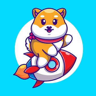 Śliczny pies shiba inu jazda rakieta kreskówka
