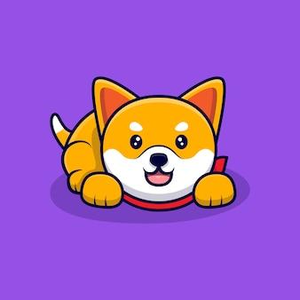 Śliczny pies shiba inu laydown kreskówka ikona ilustracja