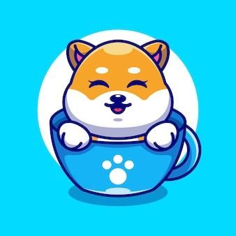 Śliczny pies shiba inu na filiżance kawy kreskówka