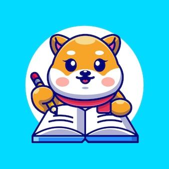 Śliczny pies shiba inu pisze na książce z ołówkową kreskówką
