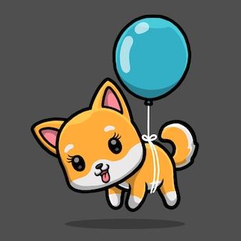 Śliczny pies shiba inu pływający z balonem na białym tle na czarnym tle.